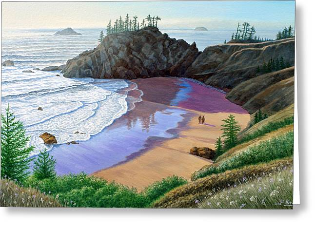 Couples Paintings Greeting Cards - Oregon Coast-Little Cove Greeting Card by Paul Krapf