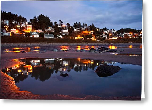 Sea Stack Reflections Greeting Cards - Oregon Coast Nights Greeting Card by Darren  White