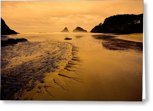 Sandy Beaches Greeting Cards - Oregon Coast Sunset Greeting Card by Bonnie Bruno