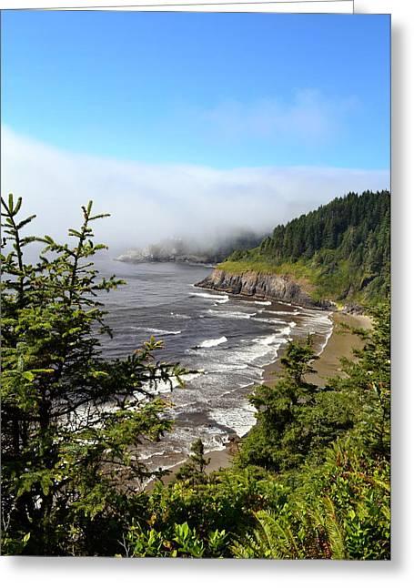 Foggy Ocean Greeting Cards - Oregon Coastline Greeting Card by Michelle Calkins