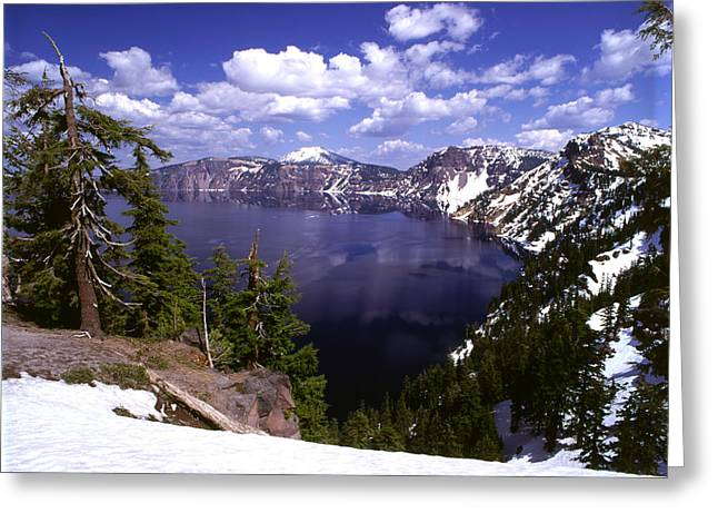 Crater Lake Greeting Cards - Oregon Crater Lake  Greeting Card by Anonymous
