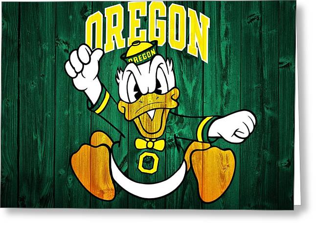 College Room Greeting Cards - Oregon Ducks Barn Door Greeting Card by Dan Sproul
