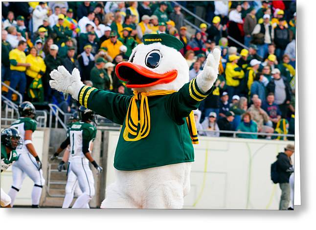 Editorial Greeting Cards - Oregon Ducks Mascot Puddles at Autzen Stadium Greeting Card by Joshua Rainey