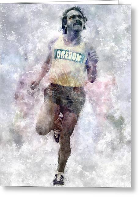 Recently Sold -  - Nike Greeting Cards - Oregon Ducks Steve Prefontaine Greeting Card by Daniel Hagerman