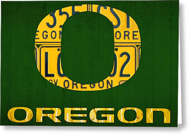 Oregon Greeting Cards - Oregon Ducks Vintage Recycled License Plate Art Greeting Card by Design Turnpike