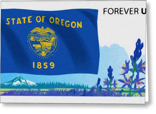Geographic Location Greeting Cards - Oregon Flag Greeting Card by Lanjee Chee