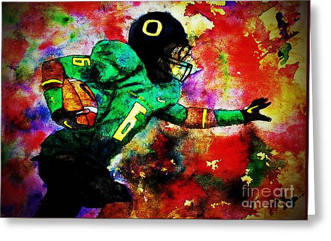 Oregon Football 3 Greeting Card by Michael Cross