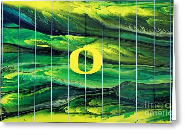 Oregon Football Greeting Card by Michael Cross