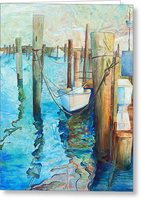 Docked Boats Greeting Cards - Oregon Inlet Greeting Card by Arlissa Vaughn