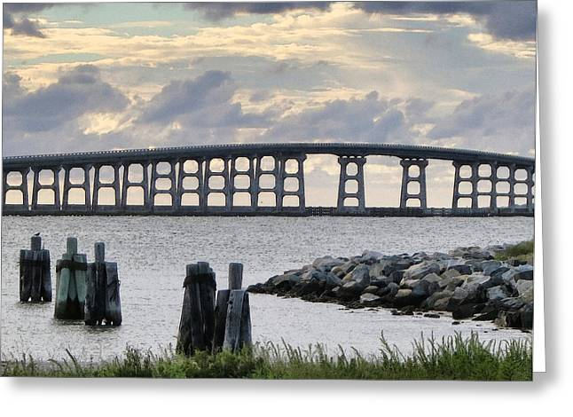 Oregon Inlet Bridge And Pilings Greeting Card by Patricia Januszkiewicz