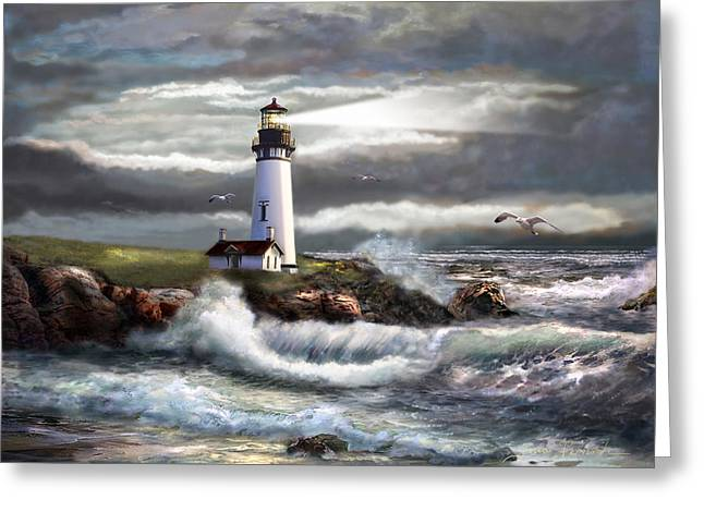 Waves Greeting Cards - Oregon Lighthouse Beam of hope Greeting Card by Gina Femrite