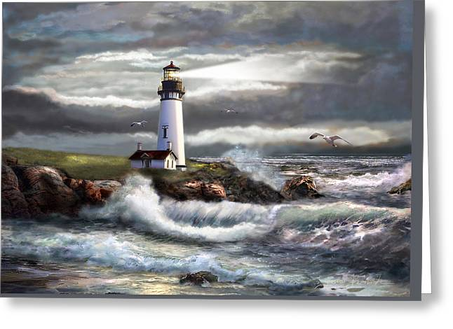 Sky Sea Greeting Cards - Oregon Lighthouse Beam of hope Greeting Card by Gina Femrite
