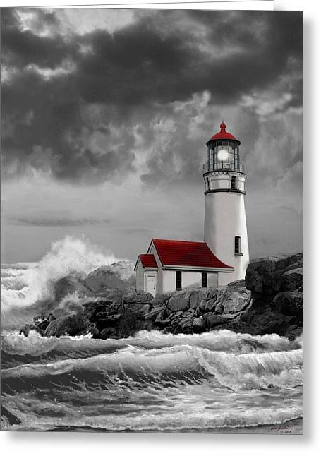 Ocean Black And White Prints Greeting Cards - Oregon lighthouse Cape Blanco in black white and red Greeting Card by Gina Femrite