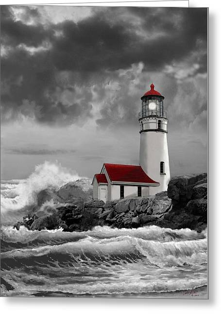 Sea With Waves Greeting Cards - Oregon lighthouse Cape Blanco in black white and red Greeting Card by Gina Femrite