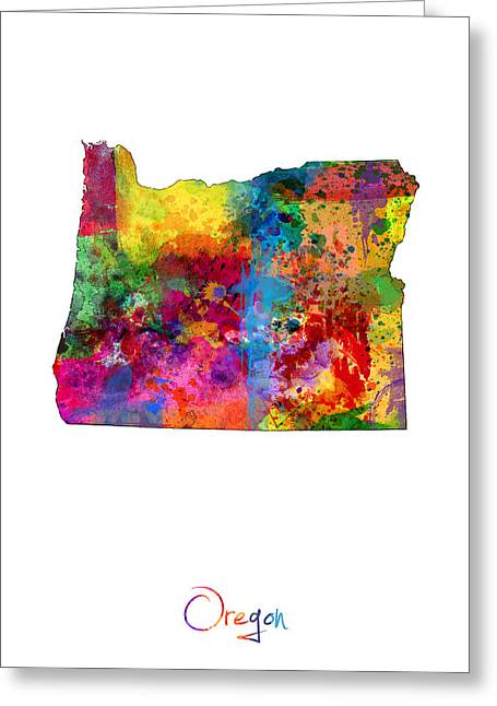 Portland Greeting Cards - Oregon Map Greeting Card by Michael Tompsett