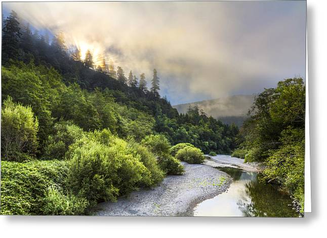 Foggy Beach Greeting Cards - Oregon Mountain Sunrise Greeting Card by Debra and Dave Vanderlaan