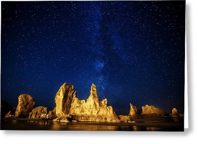 Sea Stack Reflections Greeting Cards - Oregon Nights Greeting Card by Darren  White