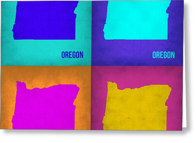 Oregon Greeting Cards - Oregon Pop Art Map 1 Greeting Card by Naxart Studio