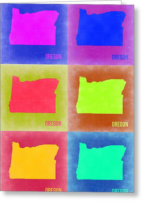 Oregon Greeting Cards - Oregon Pop Art Map 2 Greeting Card by Naxart Studio