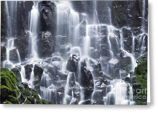 Waterfall Photography Greeting Cards - Oregon Ramona Falls Greeting Card by King Wu