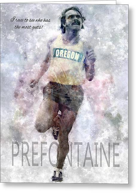 Oregon Ducks Greeting Cards - Oregon Running Legend Steve Prefontaine Greeting Card by Daniel Hagerman