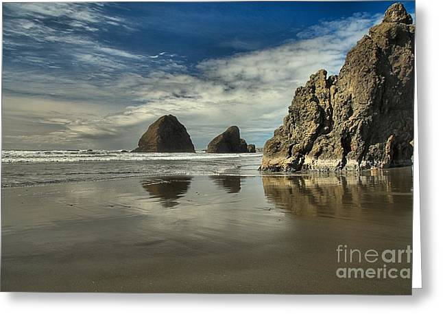 Reflections In River Greeting Cards - Oregon Sea Stack Reflections Greeting Card by Adam Jewell