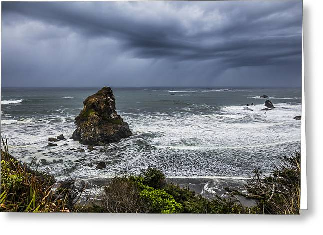 Foggy Beach Greeting Cards - Oregon Seastacks Greeting Card by Debra and Dave Vanderlaan