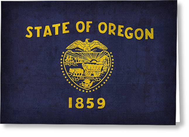Oregon State Flag Art On Worn Canvas Greeting Card by Design Turnpike
