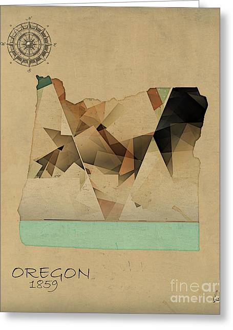 Oregon Artist Greeting Cards - Oregon State Map Greeting Card by Bri Buckley