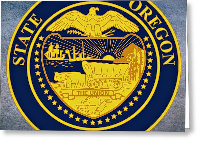 Husband Digital Art Greeting Cards - Oregon State Seal Greeting Card by Movie Poster Prints