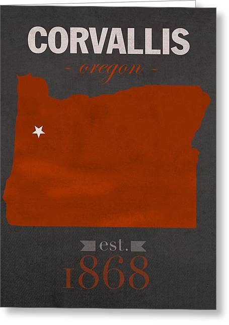 Universities Mixed Media Greeting Cards - Oregon State University Beavers Corvallis College Town State Map Poster Series No 087 Greeting Card by Design Turnpike