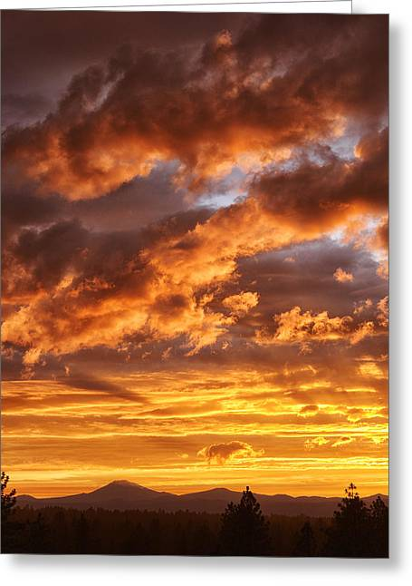 Mt Bachelor Greeting Cards - Oregon Sunset Greeting Card by Christian Heeb