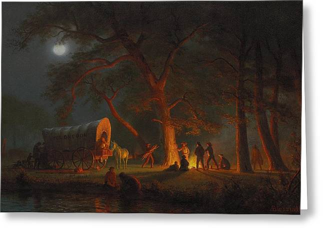 Moonlit Night Greeting Cards - Oregon Trail Greeting Card by Albert Bierstadt