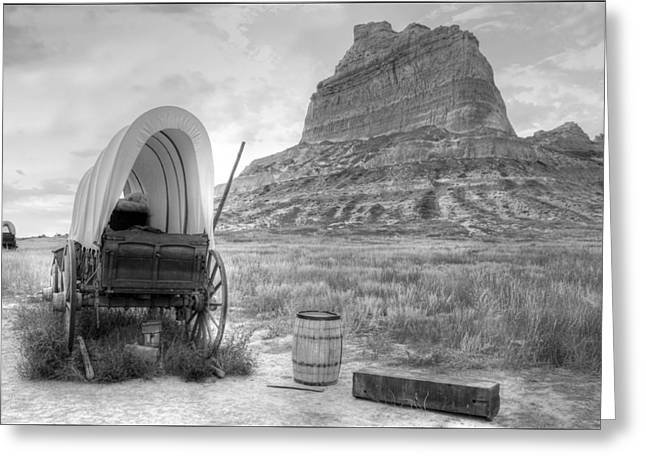 Conestoga Greeting Cards - Oregon Trail at Scottsbluff National Monument Greeting Card by Geraldine Alexander