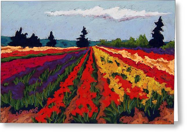 Oregon Pastels Greeting Cards - Oregon Tulip Field Greeting Card by Mary Jane Erard