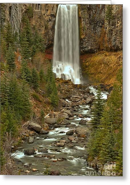 Deschutes Greeting Cards - Oregon Tumalo Falls Portrait Greeting Card by Adam Jewell