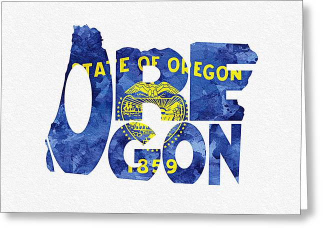 Homeland Greeting Cards - Oregon Typographic Map Flag Greeting Card by Ayse Deniz