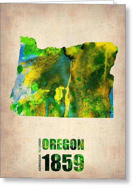 Us State Map Greeting Cards - Oregon Watercolor Map Greeting Card by Naxart Studio