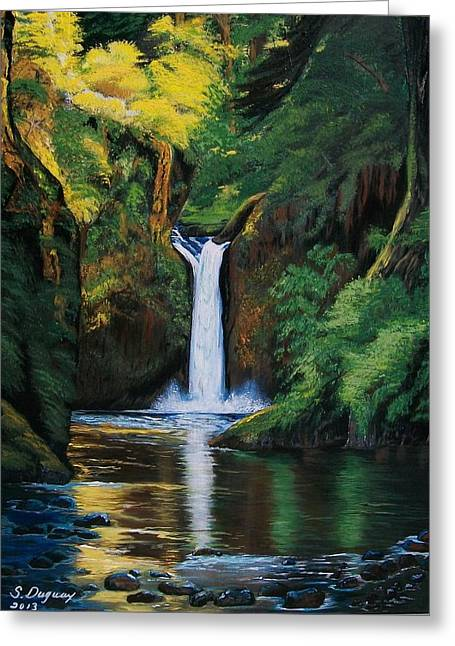 Most Greeting Cards - Oregons Punchbowl Waterfalls Greeting Card by Sharon Duguay