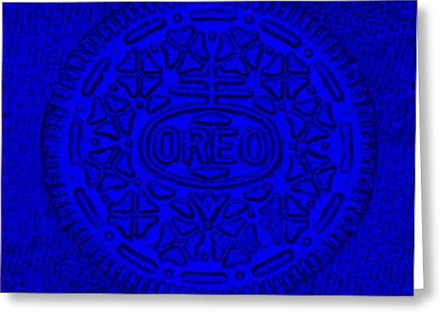 Oreo Greeting Cards - Oreo Chrome Blue Greeting Card by Rob Hans
