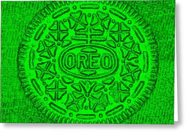 Oreo Greeting Cards - Oreo Chrome Green Greeting Card by Rob Hans