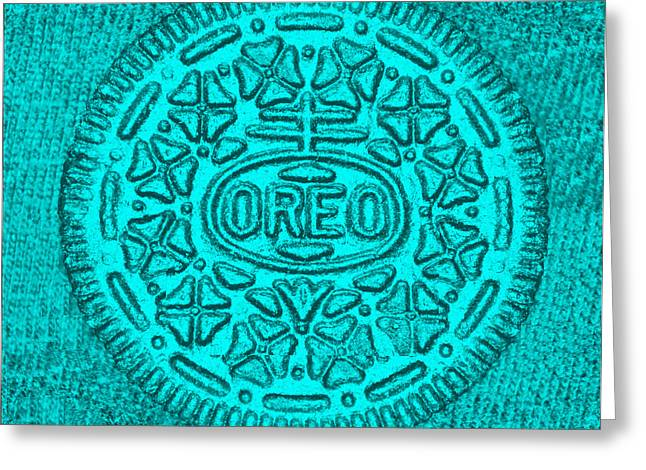 Oreo Greeting Cards - Oreo Chrome Turquoise Greeting Card by Rob Hans