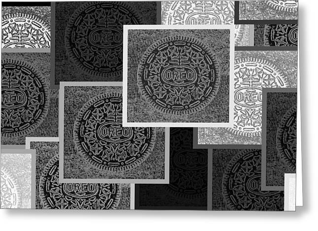 Oreo Greeting Cards - Oreo Collage Colors Black And White Greeting Card by Rob Hans