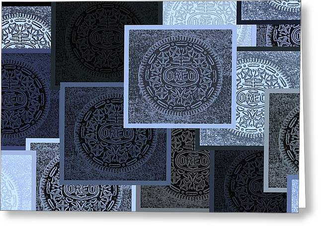 Oreo Greeting Cards - Oreo Collage Colors Cyan  Greeting Card by Rob Hans