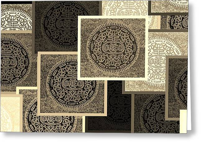 Oreo Greeting Cards - Oreo Collage Colors Sepia Greeting Card by Rob Hans