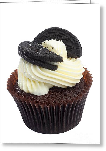 Oreo Photographs Greeting Cards - Oreo cookie cupcake Greeting Card by Rosemary Calvert