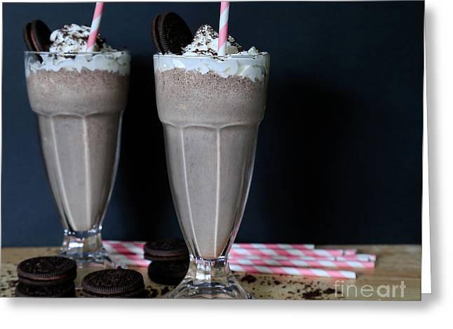 Chocolate Milkshake Greeting Cards - Oreo Cookie Milkshake Greeting Card by Tracy  Hall