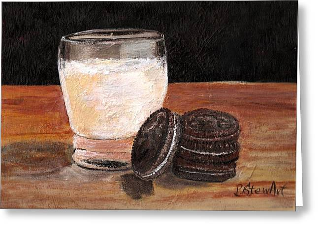 Sandwich Cookie Greeting Cards - Oreo Cookies and a Glass of Milk Greeting Card by Penny Stewart