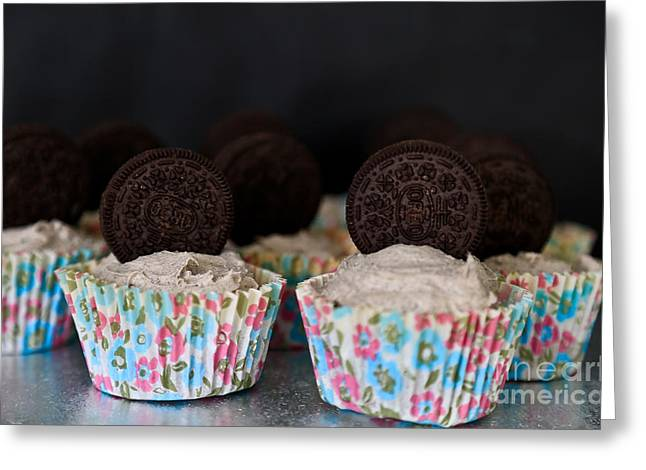 Sandwich Cookie Greeting Cards - Oreo Cupcakes Greeting Card by Tracy  Hall