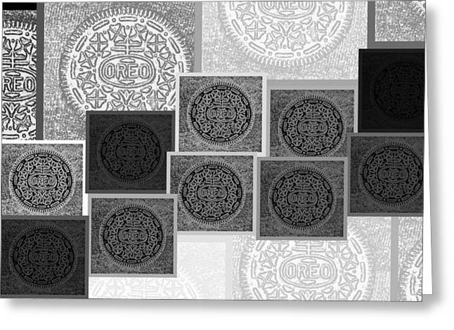 Oreo Greeting Cards - Oreo Hope Collage Black And White Greeting Card by Rob Hans